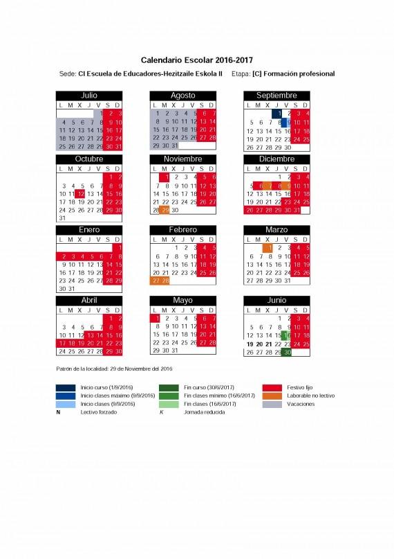 calendario escolar provisional 2016-17